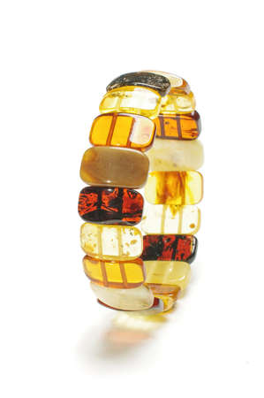armlet: Bright various beads amber armlet isolated on the white background Stock Photo