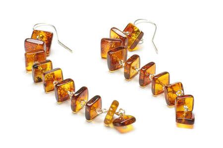 ear rings: Vintage amber ear rings isolated