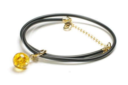 armlet: Unique and luxury amber necklace or armlet isolated on the white background