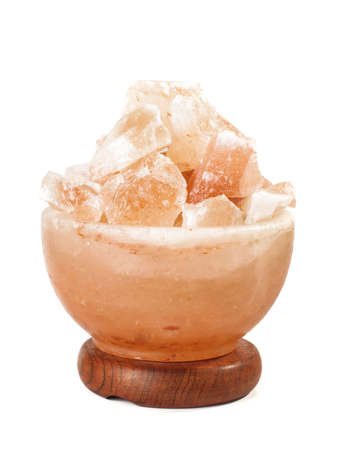 Himalayan salt lamp isolated on the white background Stock Photo