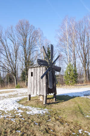 Small wooden wind mill in Rumsiskes Lithuania