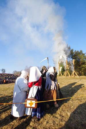 Hagyományos Uzgavenes ünnep Rumsiskes Litvánia Stock fotó