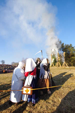 feasting: Traditional Uzgavenes celebration in Rumsiskes Lithuania Stock Photo