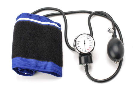 aneroid: Blood pressure equipment isolated on the white background Stock Photo