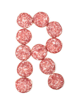 r sliced: Alphabet letter R arranged from salami sausage slices isolated on the white