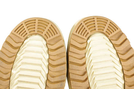 safety shoes: Brown safety shoes sole thread close up