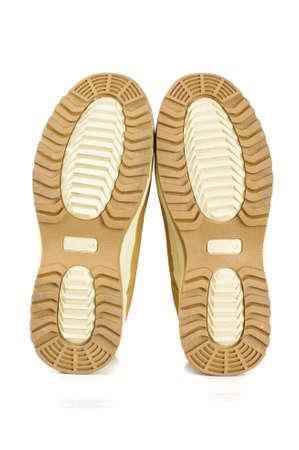 zapatos de seguridad: Zapatos de seguridad Brown soles aislados en el fondo blanco