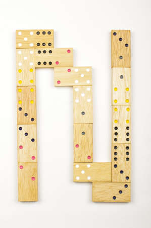 arranged: Alphabet letter N arranged from wood dominoes tiles isolated