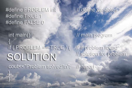 source code: Software program source code of solving problem concept