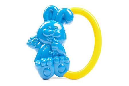 silhouette lapin: Bleu forme de lapin hochet isolé sur le fond blanc Banque d'images