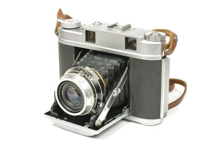 bellows: Old bellows medium format camera isolated on the white background Stock Photo
