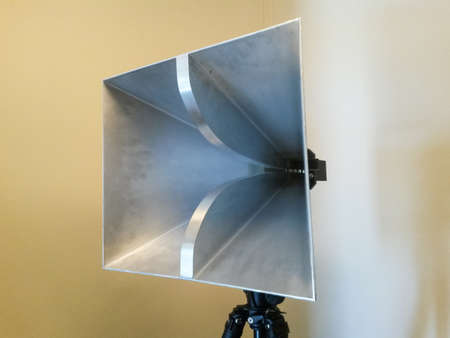 high frequency: Pyramidal microwave horn antenna Stock Photo