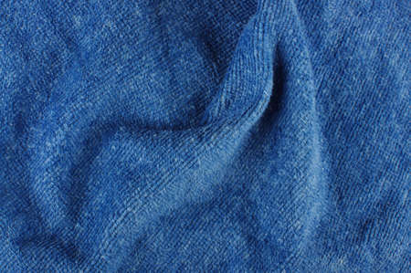 towelling: Dark blue wrapper wrinkles close up Stock Photo