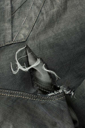 lacerate: Close up detail of black jeans with tears