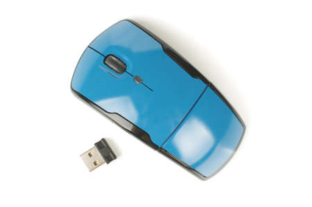Wireless computer mouse isolated on the white background top view
