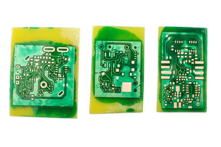 Electronics design concept: three handmade PCB printed circuit board Stock Photo