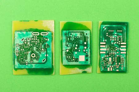 printed circuit: Three home made printed circuit boards isolated