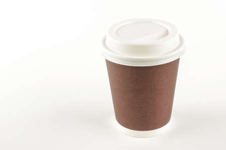 Take away coffee in paper cup isolated with copy space Stock Photo
