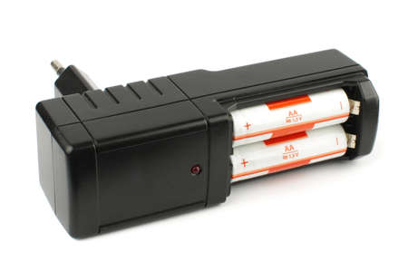 nimh: Black AA battery charger isolated on the white background