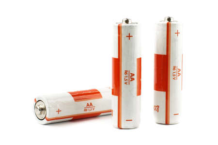 electrochemical: Three primary AA batteries isolated on the white background