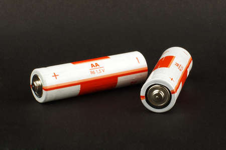 electrochemical: Two AA alkaline batteries isolated on the black background
