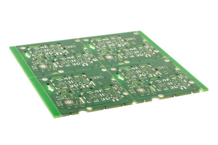 layer mask: Multiplied four printed circuit boards PCB isolated on the white background