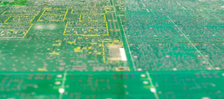 layer masks: Many different empty PCB abstract background low angle view and selective focus