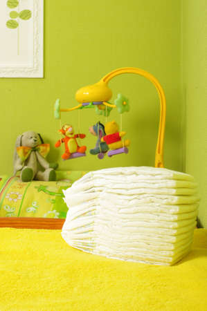 nappies: Pile of diapers in the baby room