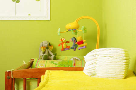 nappies: Stack of nappy in the infant room Stock Photo