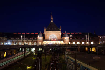 Copenhagen central train station at night