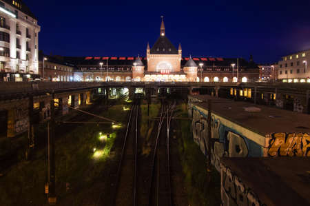 ''wide angle'': Copenhagen central train and metro station at night wide angle view