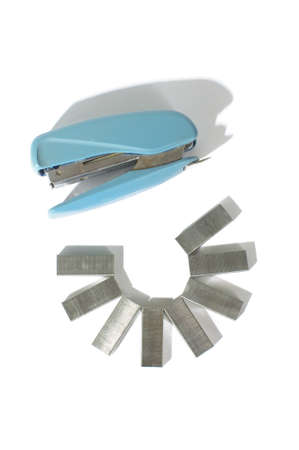 staple gun: Office tool stapler with staples isolated on the white background