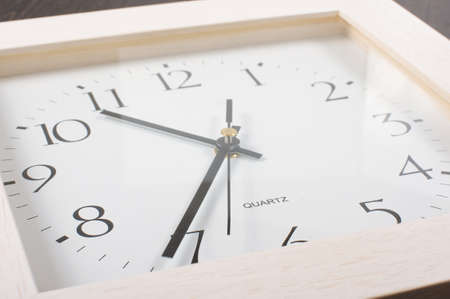low  angle: Square shape office clock low angle close up