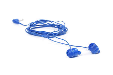 earbud: Earbud type headphones isolated on the white background Stock Photo