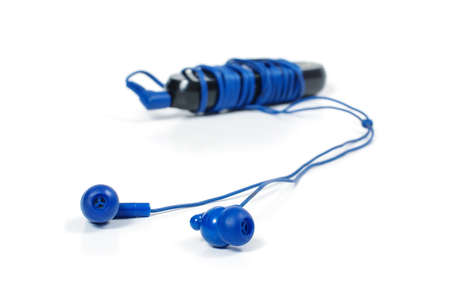 mp3: MP3 player with headphones isolated on the white background