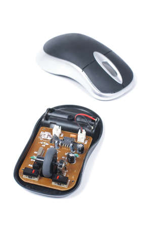 dismantle: Wireless computer mouse dismantle isolated on the white background