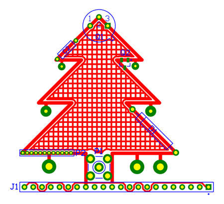 routing: Electronics design PCB routing Christmas greeting