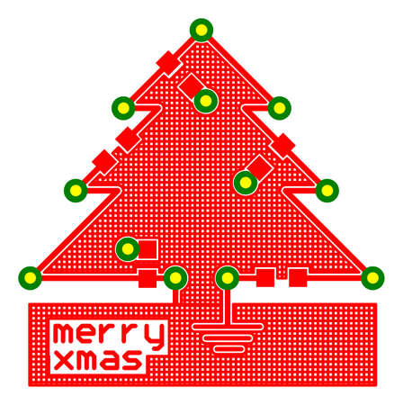 pcb: Electronics Christmas greeting printed circuit board PCB traces in the shape of Christmas tree Stock Photo