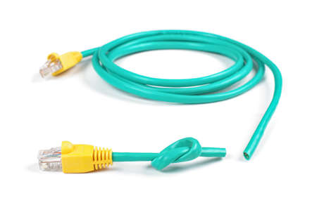 cat5: Ethernet patch cord with cut knot isolated on the white background