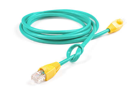 ethernet cable: Ethernet cable tied to knot isolated on the white background