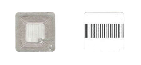rfid: RFID radio frequency identification sticker tag isolated both sides