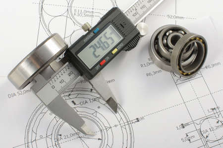calipers: Bearings and caliper on the mechanical engineering drawing