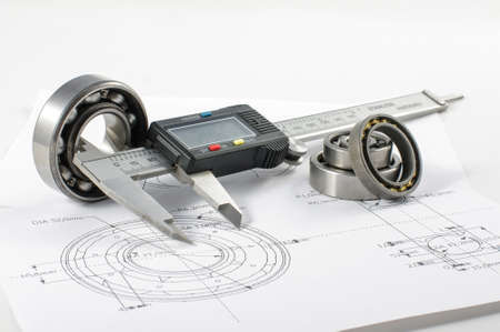 manufacturing equipment: Bearing and caliper on the mechanical engineering drawing