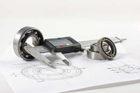engineering design: Bearing and caliper on the mechanical engineering drawing