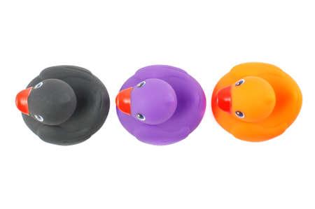 pato: Tres patos de goma para ba�o Vista superior aislada