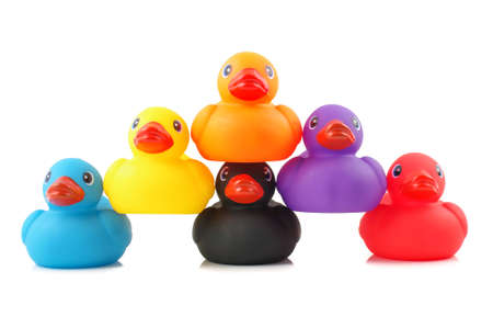 Hierarchy concept pyramid from rubber bath ducks