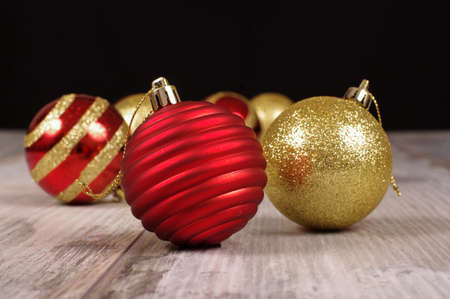 reclaimed: Christmas tree baubles on the reclaimed wood background
