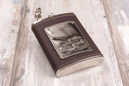 hip flask: Stainless steel hip flask isolated