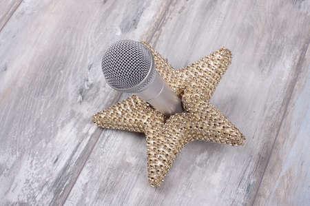 estrella de la vida: Superstar concepto todavía vida con el micrófono y la estrella de oro