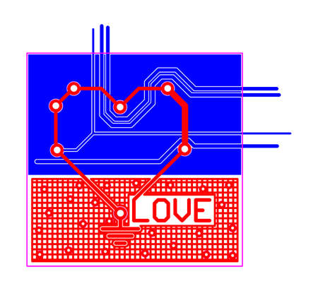 routing: Electronic printed circuit board PCB with heart shape and text LOVE